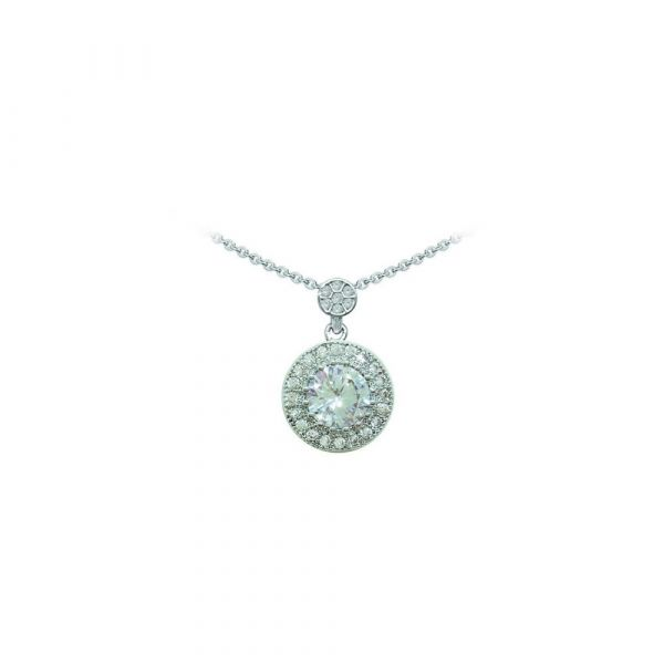Tipperary Silver Round Pendant Pave Set Surround