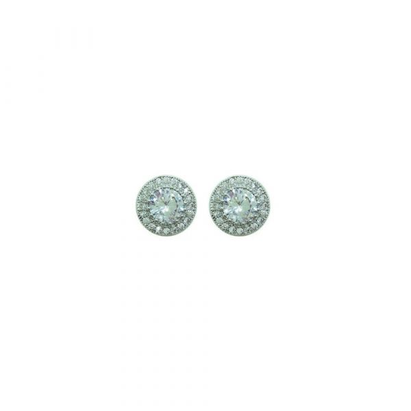 Tipperary Silver Round Earrings Pave Set Surround