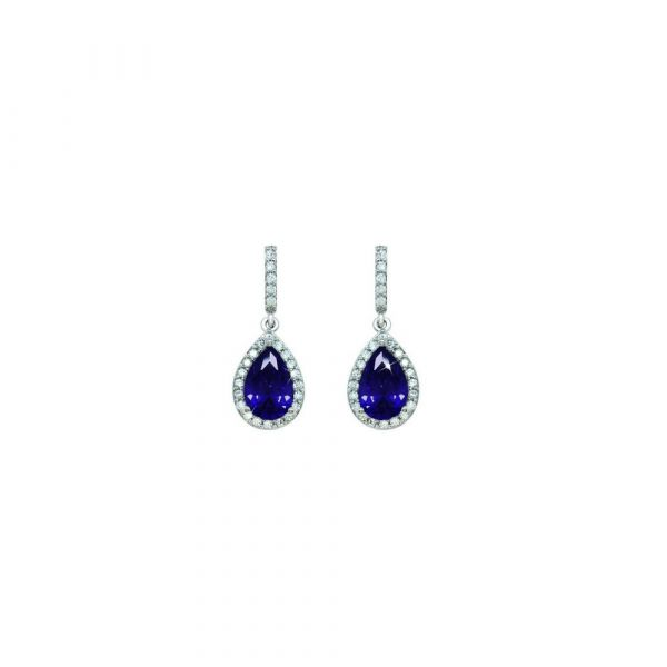 Tipperary Crystal Silver Pear Shape Earrings (Purple)