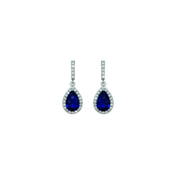 Tipperary Crystal Silver Pear Shape Earrings (Blue)