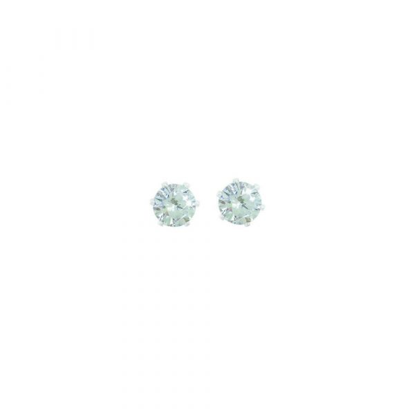 Tipperary Silver Stud Earrings Clear Stone 4mm