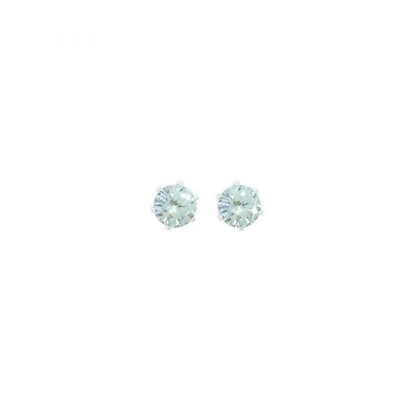 Tipperary Silver Stud Earrings Clear Stone 6mm