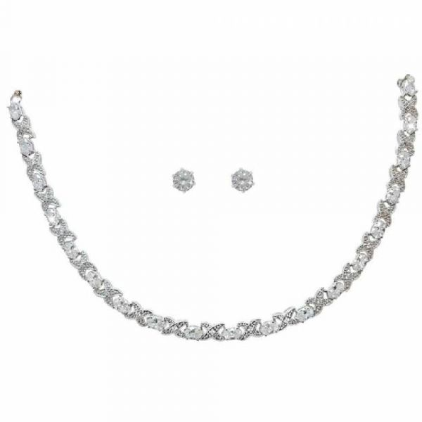 Tipperary Crystal Silver Necklace & Earrings Set