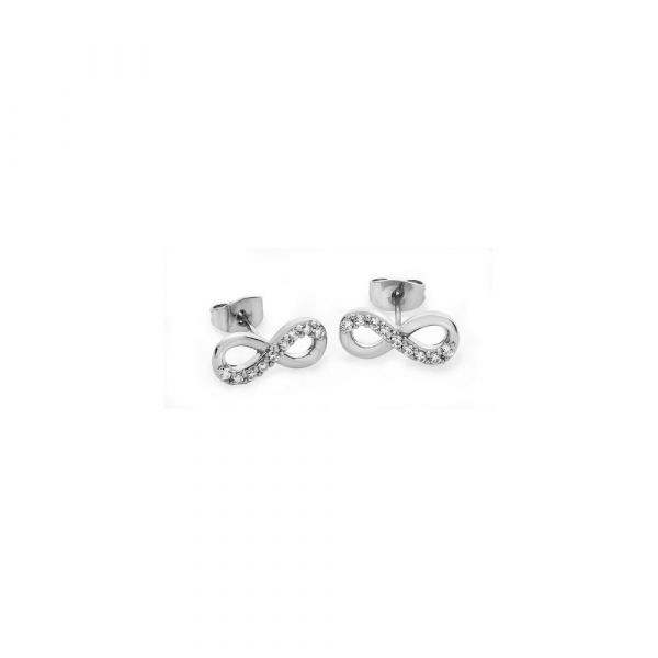 Tipperary Part Stone Set Infinity Stud Earrings Silver