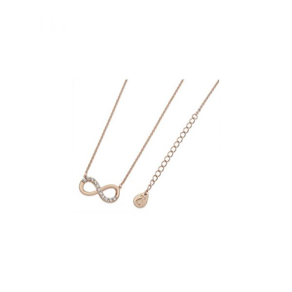 Tipperary Crystal Stone Set Infinity Pendant Rose Gold