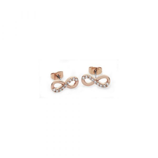 Tipperary Crystal Infinity Rose Gold Stud Earrings