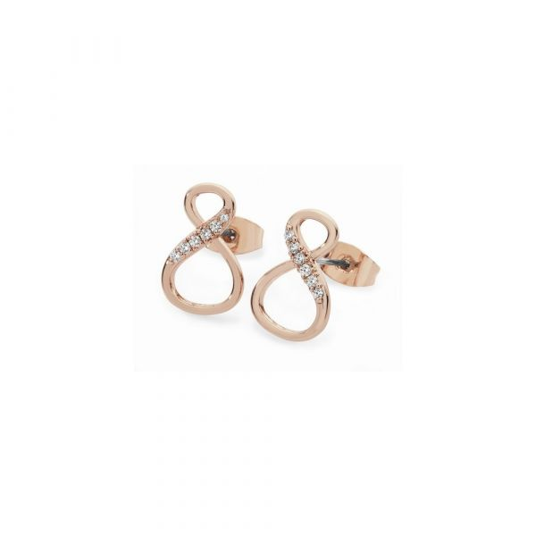 Tipperary 9 Shape Infinity Rose Gold Stud Earrings