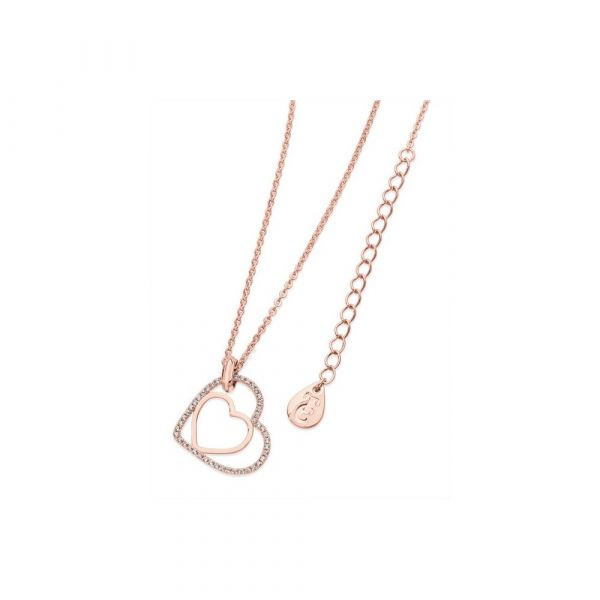 Tipperary Crystal Floating Heart Pendant Rose Gold