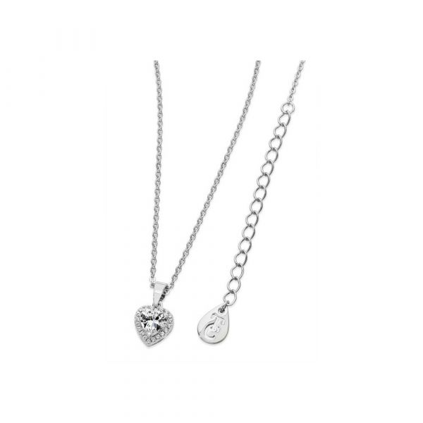 Tipperary Diamante Heart Drop Pendant Silver