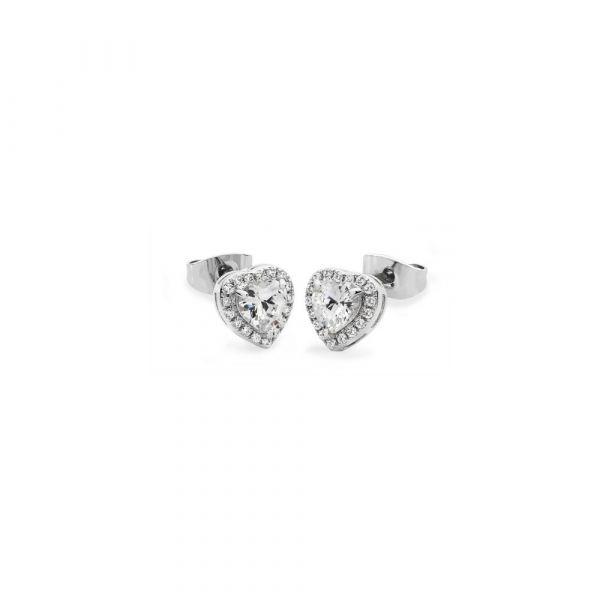 Tipperary Diamante Heart Drop Earrings Silver