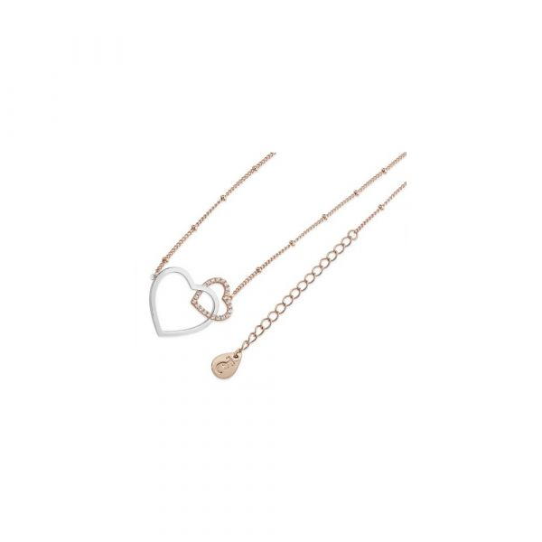 Tipperary Sparkling Interlinked Hearts Pendant (Rose Gold)