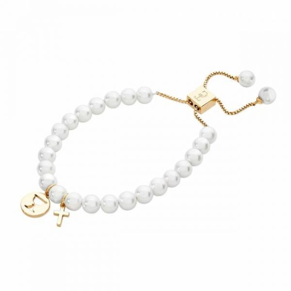 Tipperary Crystal First Holy Communion Pearl Bracelet With Gold Charms