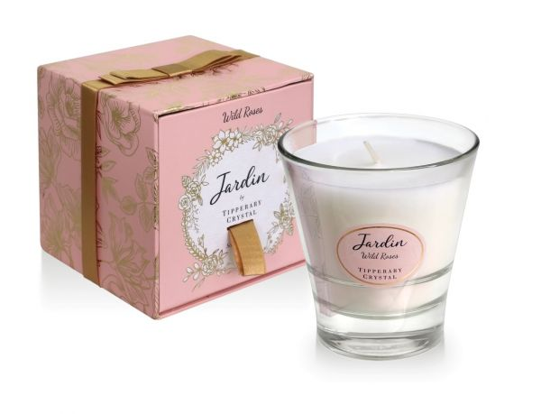 Tipperary Crystal Jardin Collection Wild Roses  Candle
