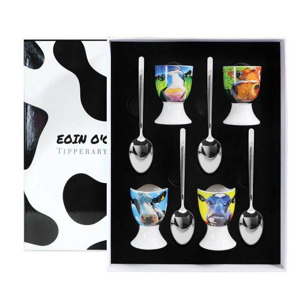 Eoin O'Connor Cows Set 4 Egg Cup & Spoon