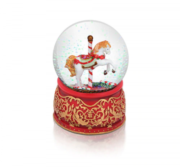 Tipperary Crystal Christmas Carousel Snow Globe