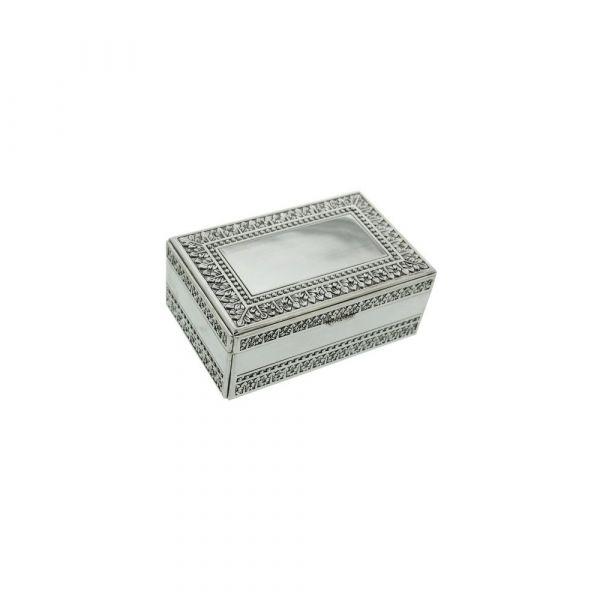 Sophia Antique Silverplated Trinket Box W/Leaf Design