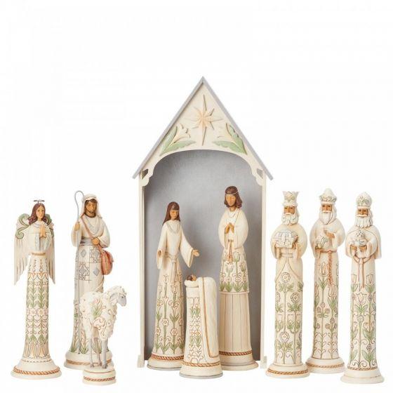 Jim Shore White Woodland Nativity Set (Limited Edition Masterpiece)