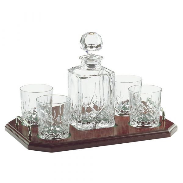 Galway Crystal Longford Square Decanter & Tray Set