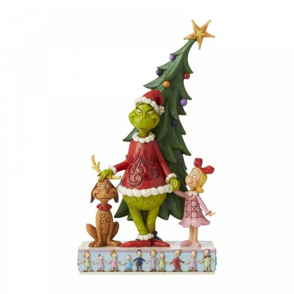 Jim Shore Grinch, Max and Cindy Decorating Tree Figurine