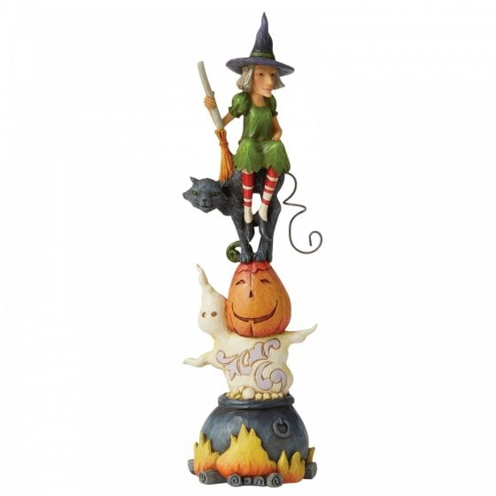 Jim Shore Recipe For Fright (Stacked Ghost, Pumpkin and Cat Figurine)