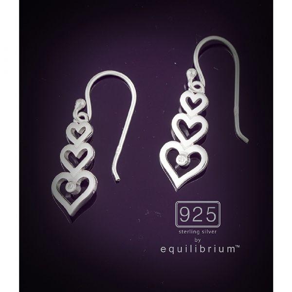 Sterling Silver Triple Hearts Earrings