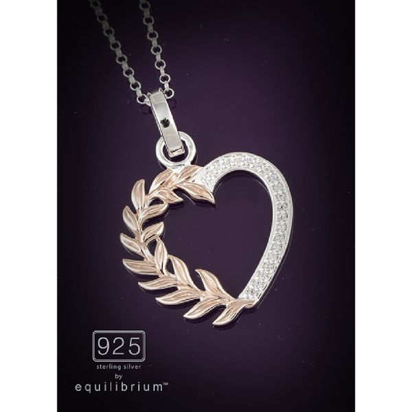 Sterling Silver Two Tone Heart Leaves Necklace