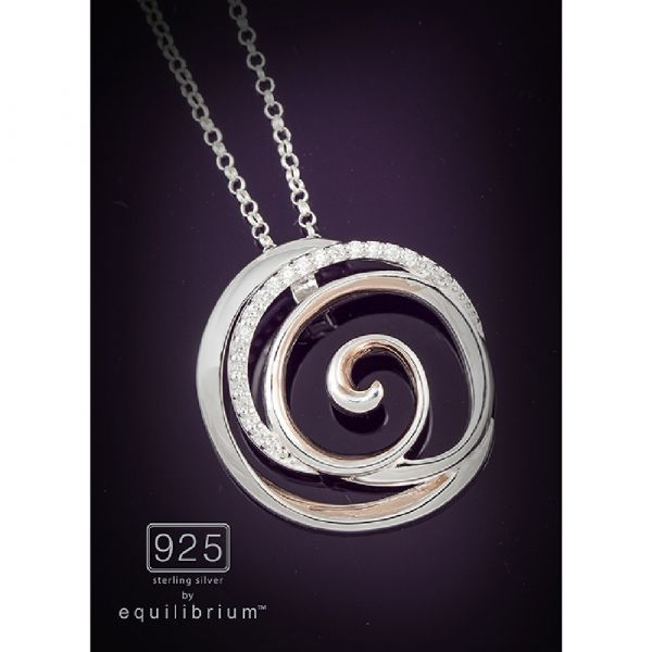 Sterling Silver Two Tone Swirl Necklace