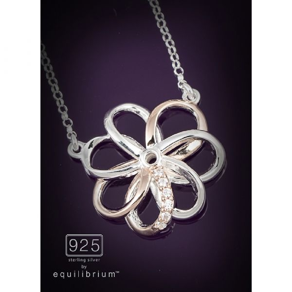 Sterling Silver Two Tone Flower Necklace