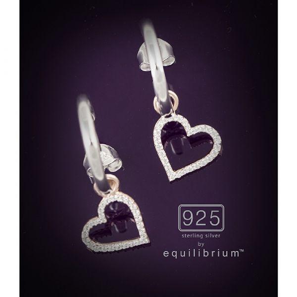 Sterling Silver Two Tone Hang Heart Earrings