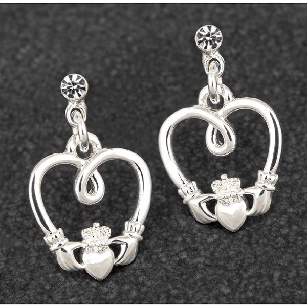 Claddagh Silver Plated Earrings
