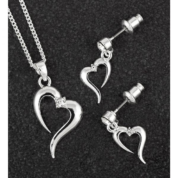 Open Heart Necklace & Earring Set