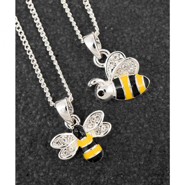 Girls Silver Plated Bumble Bee Necklace