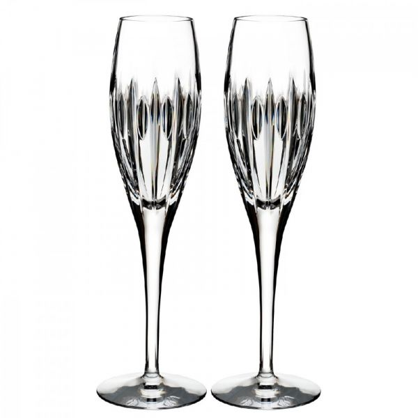 Pair Waterford Crystal Mara Flute Champagne Glasses