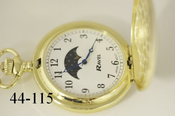 Pocket Watch with Moon Dial & Chain