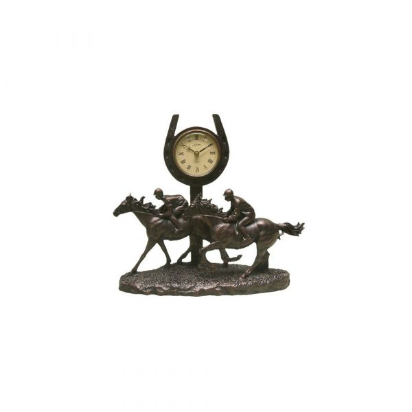 Two Horses Galloping past the Finish Post Clock - Bronze Finish