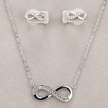 Newgrange Jewellery Silver Infinity Necklace & Earring Set
