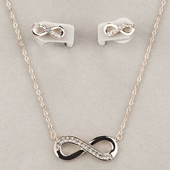 Newgrange Jewellery Rose Gold Infinity Necklace & Earring Set