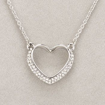 Newgrange Jewellery Silver Diamante Heart Necklace