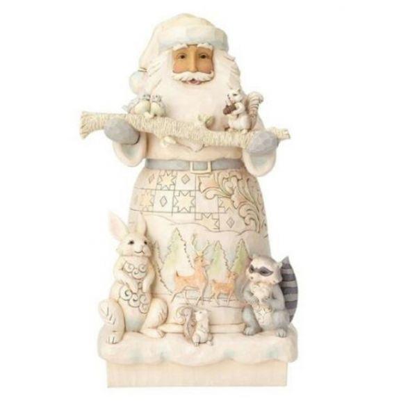 Jim Shore White Woodland Santa Statue