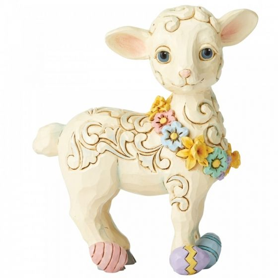Jim Shore Lamb with Easter Eggs Pint-Sized Figurine