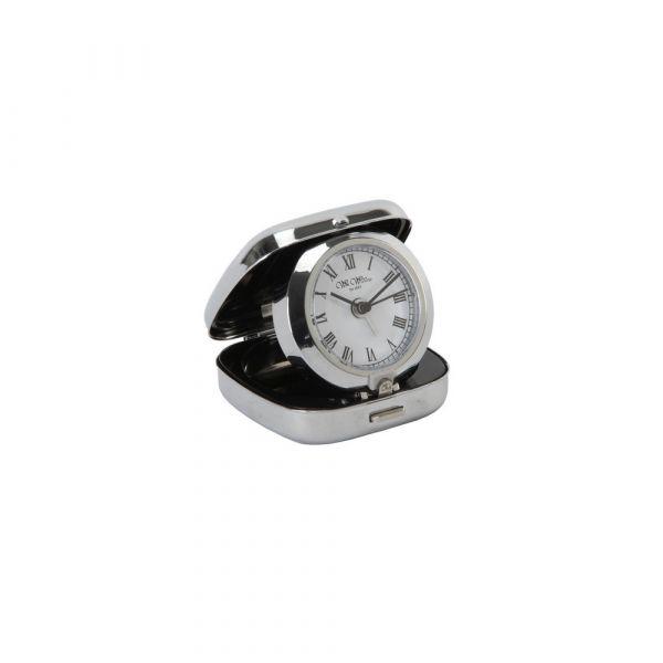 Metal Fold up Alarm Clock White Dial