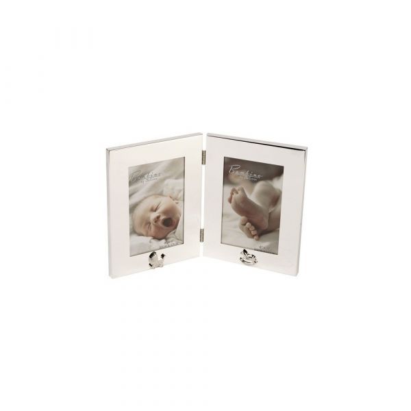 Bambino Silver Plated Double 4x6 Photo Frame