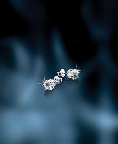 Newbridge Silver Stud Earrings Clear Stone