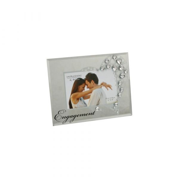 Glass Photo Frame with Crystals (Engagement)