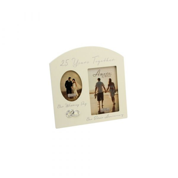 Amore Double Aperture Photo Frame - 25 Years Anniversary