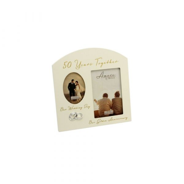 Amore Double Aperture Photo Frame - 50 Years Anniversary