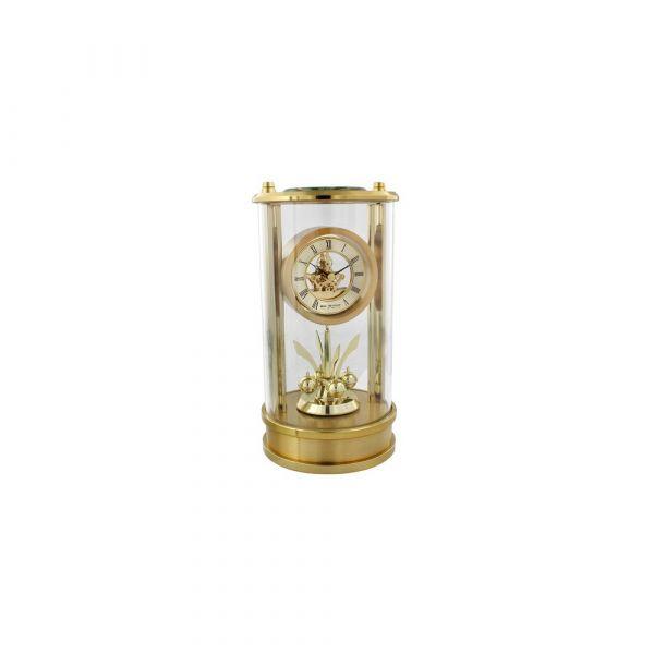 Mantel Clock Skeleton Dial Roman Numerals & Rotating Pendulum Gold Finish