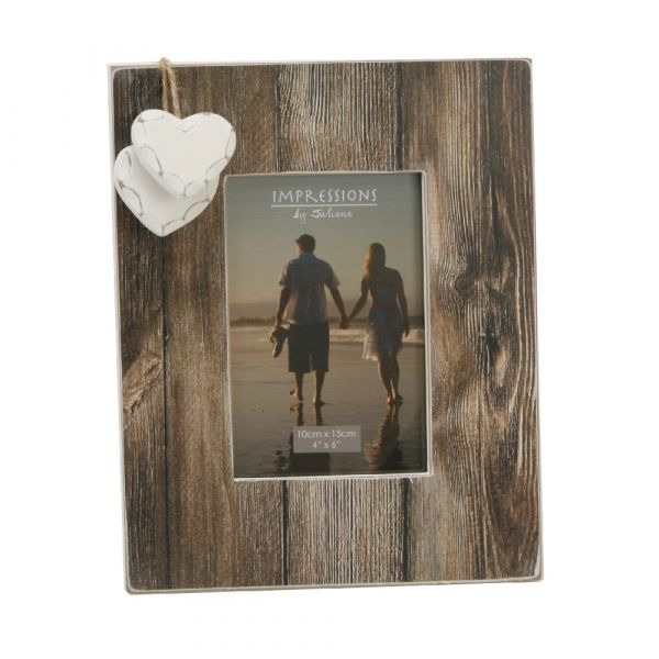 Distressed Wood Frame W/2 Hearts