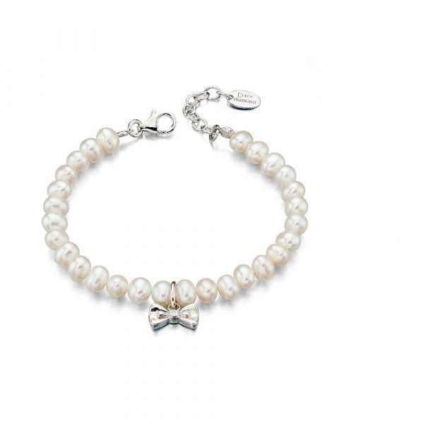 D For Diamond Diamond Bow Pearl Necklace