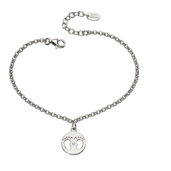 D For Diamond Diamond Footprint Charm Bracelet